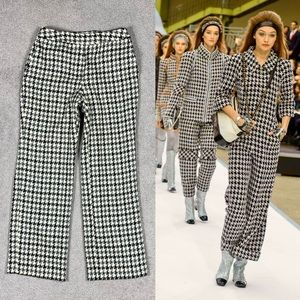 Couture Look Houndstooth Tweed Wide Leg Trousers